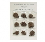 Antique Brown Spur Rowel Card 9 prs w/Rowel and Cotter Pins