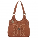 Bandana Sheridan Zip Top Scoop Tote - Saddle Tan
