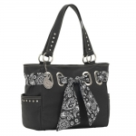 Bandana Signature Zip Top Carry-All Tote - Black