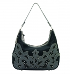 Bandana Sugarland Zip Top Hobo Handbag - Black