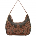 Bandana Sugarland Zip Top Hobo Handbag - Brown