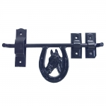 Barn Door Latch - Fancy Horse Head in Horseshoe