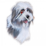 Bearded Collie Head Shaped Clock