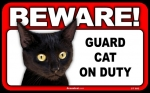 BEWARE Guard Cat on Duty Sign - Black Cat