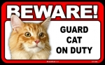 BEWARE Guard Cat on Duty Sign - Orange Tabby Cat