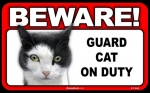 BEWARE Guard Cat on Duty Sign - Calico Cat