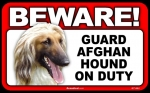 BEWARE Guard Dog on Duty Sign - Afghan Hound