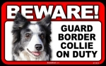 BEWARE Guard Dog on Duty Sign - Border Collie