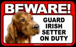 BEWARE Guard Dog on Duty Sign - Irish Setter