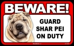 BEWARE Guard Dog on Duty Sign - Shar Pei