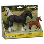 Black Draft & Bay Foal Model Horse Box Set