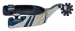 "Black Steel Engraved Leaf Men's Spur 1"" Band"