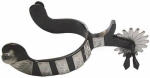 Black Steel Men's Jingle Bob Show Spur with German Silver Trim