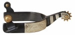 Black Steel Men's Roper Spurs 3/4 in. Band 1-3/4 in. Shank