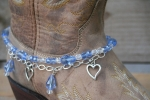Boot Candy Crystals and Hearts Boot Accessories Bracelet