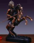 "Bronze Finish 10.5"" Rearing Chief Horse Sculpture"
