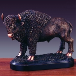 "Bronze Finish 11"" Standing Buffalo Sculpture"