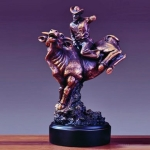 "Bronze Finish 13"" Bull Rider Sculpture"