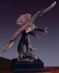 "Bronze Finish 14"" Eagle On the Hunt Sculpture"