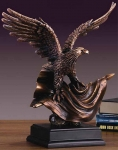 Bronze Finish 15.5' Eagle On A Flag Sculpture