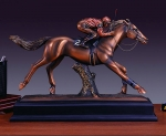 "Bronze Finish 15.5"" Jockey Horse Racing Sculpture"