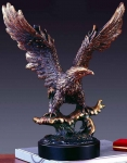 "Bronze Finish 15.5"" Standing on Wave Eagle Sculpture"