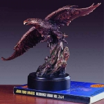 "Bronze Finish 16"" Flying Eagle Sculpture"