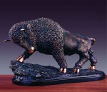 "Bronze Finish 19"" Charging Buffalo Sculpture"