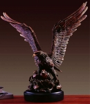 "Bronze Finish 19"" Eagle Protecting Her Young Sculpture"