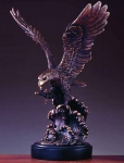 "Bronze Finish 20"" Eagle on Waves Sculpture"