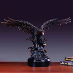 "Bronze Finish 21"" Eagle Searching Prey Sculpture"