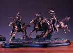 "Bronze Finish 22"" Three Riders Horse Sculpture"