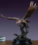 "Bronze Finish 24.5"" Large Flying Low Eagle Sculpture"