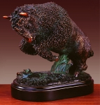"Bronze Finish 7"" Rearing Buffalo Sculpture"