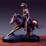 Bronze Finish Cowgirl Barrel Race Horse Sculpture