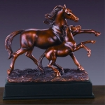 Bronze Finish Horse With Baby Horse Sculpture