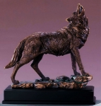 Bronze Finish Howling Wolf Sculpture