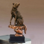Bronze Finish Sitting Wolf Sculpture