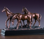 Bronze Finish Three Horses Sculpture