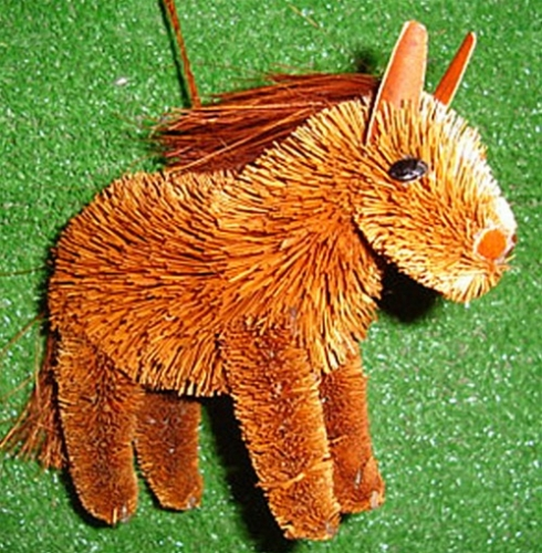 Brushart Chestnut Horse Ornament Bristle Animal Ornaments
