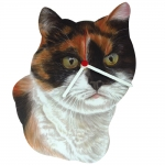 Calico Cat Head Shaped Clock