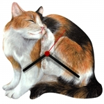 Calico Cat Scratching Shaped Clock