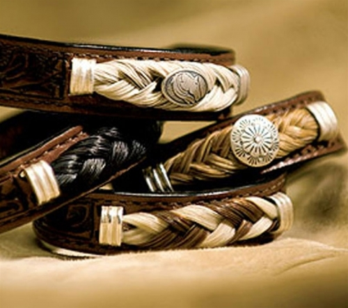 Cowboy Collectibles Horse Hair And Leather Concho