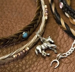 Cowboy Collectibles Horse Hair Beaded Choker with Charm
