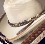 Cowboy Collectibles Horse Hair Braided Hatband-Spiral with Tassels