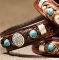 Cowboy Collectibles Horse Hair Concho Bracelets with Turquoise