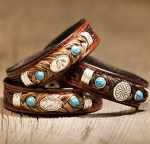 Cowboy Collectibles Horse Hair Equine Concho Bracelets with Turquoise