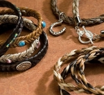 Cowboy Collectibles Horse Hair Woven Crystal Stone Bracelets