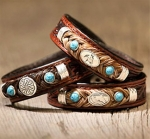 Cowboy Collectibles Tooled Leather Horse Hair Quarter Horse Concho Bracelets with Turquoise