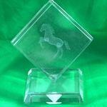 Crystal Weight Etched Rearing Horse on base